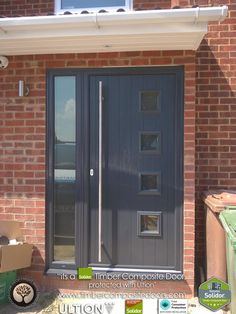 Contemporary Italia, Solidor Composite Doors by Timber Composite Doors are brought to you with our Italia Range of Timber Core Doors. Italia doors emanate modern Italian elegance that is fused with British craftsmanship. House Front Door, Porch Interior, House With Porch, House Front, Contemporary Front Doors, Porch Design, Grey Front Doors, Porch Extension, Building A Porch