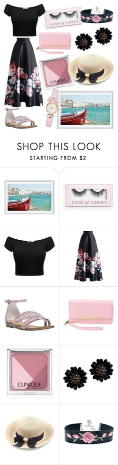 """""""lunch on boat"""" by ilarylmiao ❤ liked on Polyvore featuring Pottery Barn, Boohoo, Chicwish, Carlos by Carlos Santana, Charlotte Russe, Clinique and Kate Spade"""