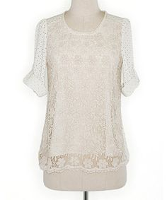 Love this Rice Lace The Dots Roll-Tab Sleeve Top by Deep or Shallow on #zulily! #zulilyfinds