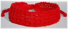Red Knit Headband with Ties  by Cozy, $6.50 USD https://www.zibbet.com/cozy/red-knit-headband-with-ties