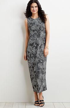 c725e19bf68c8f plus size Wearever printed seamed long dress from J.Jill Mature Women  Fashion, Womens