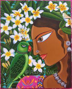 Canvas Painting Tutorials, Diy Canvas Art, Fabric Painting, India Painting, Art Painting Gallery, Madhubani Art, Madhubani Painting, Indian Folk Art, Indian Artist