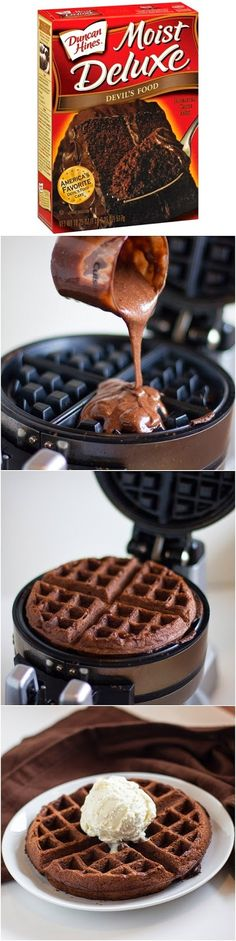 I MUST go buy a waffle maker! Cake Mix Waffles Mix, Cook in Waffle Iron. Top with Ice Cream, use for Strawberry Shortcake, -Great idea for Birthday Waffles! A treat for breakfast or snack. Could use cake mix and tint colors for themes. Just Desserts, Dessert Recipes, Crepe Recipes, Dessert Ideas, Drink Recipes, Waffle Maker Recipes, Pancake Recipes, Breakfast Desayunos, Birthday Breakfast