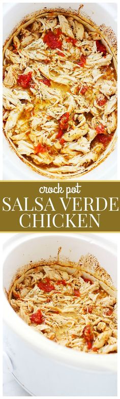 Weekly dinner - Easy Crock Pot Salsa Verde Chicken - Loaded with salsa verde and delicious chopped tomatoes, this healthy crock pot chicken is incredibly flavorful and extremely easy to make. Just place it all in the crock pot and walk away. Crock Pot Slow Cooker, Crock Pot Cooking, Slow Cooker Recipes, Crockpot Recipes, Cooking Recipes, Chicken Recipes, Crock Pots, Best Slow Cooker, Freezer Recipes