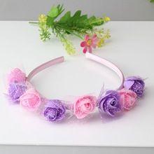 Novo 6 cores Flor Faixa de Cabelo Headband Do Bebê Acessórios Para o Cabelo Crianças Acessórios Meninas Acessórios Do Cabelo Do Casamento(China (Mainland))