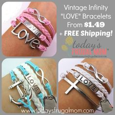 """Vintage Infinity """"LOVE"""" Bracelets From $1.49 + FREE Shipping! :: Today's Frugal Mom™"""