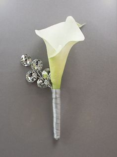 Boutonniere - Lily & Silver Beaded Boutonniere - Button Hole - Wedding Accessory for Groom, Groomsmen, and Prom