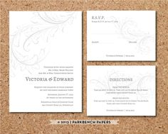 Wedding Invitation RSVP and Insert Card - Old Victorian Design - DIY Editable Word Template Instant Download Printable