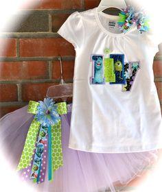 Custom Boutique Girls Disney Vacation Monsters Inc Birthday Tu Tu set APPLIQUE Personalized Shirt child's name Hair Bow