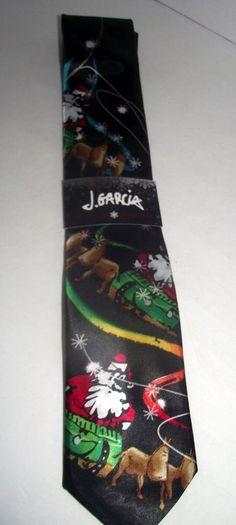 Tie Jerry Garcia Christmas Neck Santa Reindeers Grateful Dead Black Red Stars #JGarcia #Tie