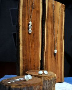 jewelry by Epheriell displayed at the Bridal Expo March 2013 - eco sterling silver with wood, moss, and tulips!