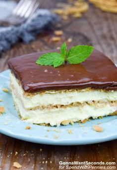 Easy no bake Eclair Cake made with cool whip and graham crackers is always a hit! The creamy cake pairs well with the simple chocolate glaze.