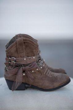 Sweet Caroline Suede Embellished Cowboy Booties (Chocolate) - NanaMacs.com - 1