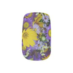 Gorgeous! Purple and yellow Asteraceae Bouquet Fingernail Decals (Minx Nails Stickers) by EManglFlowers #FlowerGift #Spring #NailWrap