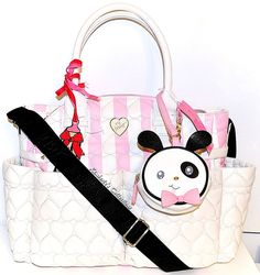 d17a5b8d7240 BETSEY JOHNSON DIAPER Bag Pink Stripe Heart Quilt Baby Shower Travel Tote  NWT 889487222804