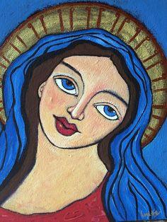 Original Painting Modern Folk Art Angel Saint on canvas panel 12x16. $65.00, via Etsy.