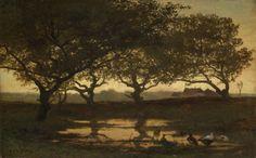 Bosvijver bij zonsondergang, Gerard Bilders  (Utrecht, 9 december 1838 – Amsterdam, 8 maart 1865), ca. 1862
