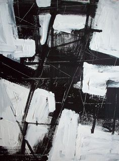 Original 24 x 18 geometric black and white aqua modern art abstract geometric architecture painting painting by DJ DOMI