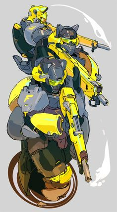 tomscholes: robogabo-art: I imagine this squad would be deployed for eliminating hordes of aliens, some sort of creature that has no yellow/red cones in their eyes so the yellows appear gray to them (humans could see it clearly) Colorful weapons and armor are used to avoid friendly fire. The weapons are automatic shotguns, used to cover a huge radius at close range, eliminating multiple targets with one shell. Big bulky armor with low mobility. Process: SO what do you do when you can't…