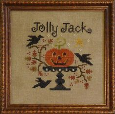 """Jolly Jack"" is the title of this cross stitch pattern from All Through The Night which features a wonderful pumpkin on a cake plate stand with crows all about!"