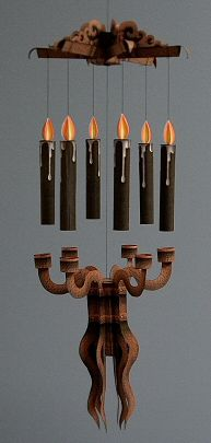 THE FLOATING CANDELABRA Sometimes even the best spells and metaphysical incantations fail to make things levitate properly. Why take chances? Here's a floating candelabra mobile that adds a mysterious supernatural look to any room you choose. Includes your choice of white, red or black candles.