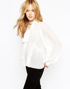 ASOS Premium Pussy Bow Blouse in Self Stripe