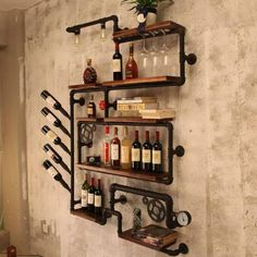 industrial pipe wine rack home improvement in 2019 wine shelves rh pinterest com