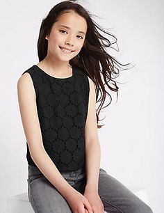 Cotton Rich Floral Lace Top (5-14 Years)