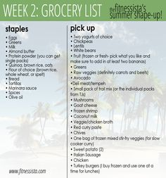 summer shape-up week 2 grocery list