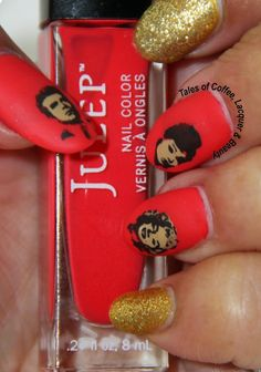 Old Hollywood Nail Art!  http://talesofcoffeelacquerandbeauty.blogspot.in/2014/09/old-hollywood-nail-art-tutorial-red.html