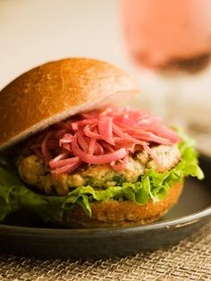 Chef Michael Smith | recipe | Grilled Salmon Burgers with Pickled Red Onions