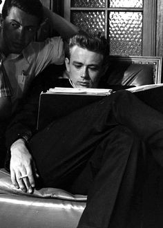 James Dean and Dennis Stock on the set of Rebel Without a Cause.