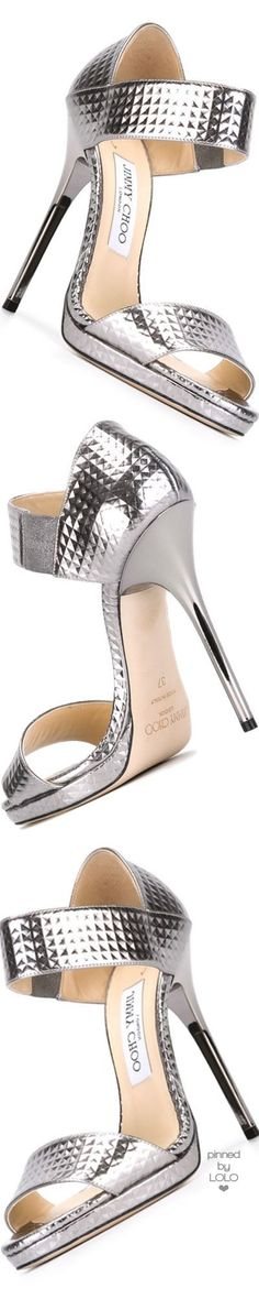 Jimmy Choo ~  'Lee' SIlver Metallic Sandal Heels