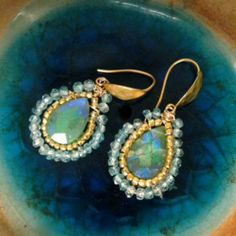 Gorgeous Handmade Gold Topaz Earrings Insomnia- Boho earrings with stunning Blue Topaz, green AB Chrysoprase, 24k glass beads hanging on hammered vermeil hooks, Matana jewelry Matana Jewelry Jewelry Earrings