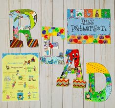 Letter Set, Letter Wall, Class Rules Poster, Painting Wooden Letters, Teacher Signs, Color Copies, Book Letters, Classroom Walls, Room Themes