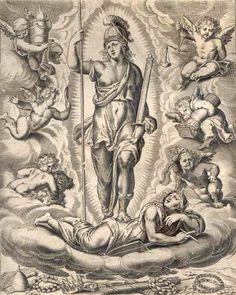 """O emblema da Virtude, na obra Theatro moral de la vida humana, de Otto Van Veen   http://sergiozeiger.tumblr.com/post/99177831668/convento-de-sao-francisco-salvador-o-convento  O claustro do convento de São Francisco de Salvador, na Bahia, já foi chamado de """"Sermão de Azulejos"""". Ele possui em seu andar térreo um conjunto de azulejos que reproduz parcialmente as pinturas do artista holandês Otto van Veen."""