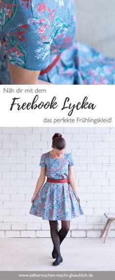 """Näh dir mit dem Freebook Lycka das perfekte Frühlingskleid! Weitere einfache Schnittmuster für schöne Kleider findest du auf meinem Nähblog """"Selbermachen macht glücklich"""" und dazu viele Inspirationen aus Biostoffen #naehen #nähen #sewinginspiration #sewing #sewing #einfach #schnittmuster #tutorial"""