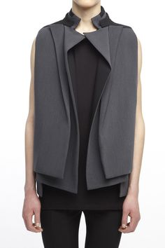 rad hourani VE602BKCGC : UNISEX LAYERED LAPEL VEST