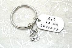 Stamped Keychain Art Keychain Gift for Artist by BeautyInBaubles