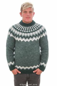 Icelandic Sweaters - Icelandic knitwear is famous for its premium quality, incomparable warmth, and classic style. All our Icelandic sweaters and Icelandic cardigans are made in Iceland from pure Icelandic sheep's wool to give you exceptional. Fair Isle Knitting Patterns, Knitting Designs, White Sweaters, Wool Sweaters, Icelandic Sweaters, Sweater Design, Green Sweater, Pattern Fashion, Bunt