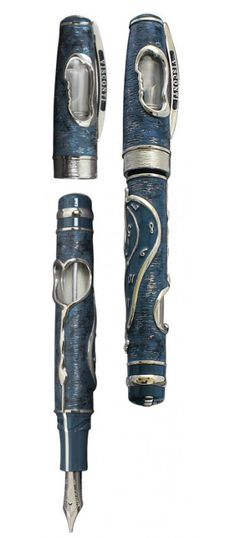 Limited Edition Visconti Dance of Time I Salvador Dali - Blue with Sterling Silver fountian pen