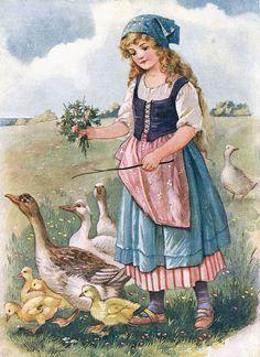 The Goose Girl illustration -- by A L Bowley (aka Ada Leonora Bowley, English,  1866-1943)