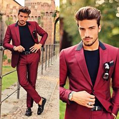 maroon for men, suit, hairstyle for men