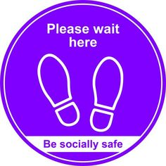Purple Social Distancing Floor Graphic - Please Wait Here dia. Floor Graphics, Easy Canvas Art, Floor Decal, Window Signs, Furniture Direct, Business Furniture, Cleaning Checklist, Sticker Shop, 400m