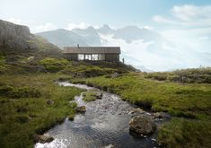 LYSTHUS is a series of prefabricated huts Industrial designer Ole Petter Wullum designed for Rindal Cabins, Norway's oldest cabin manufacturer. Architecture Panel, Architecture Visualization, Architecture Portfolio, Architecture Drawings, Landscape Architecture, Architecture Design, 3d Visualization, Scandinavian Cabin, Exterior