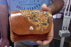 Belt Bag / Men / Women / Leather / Hand Carved and Tooled / Western  / Sheridan / Flowers / Hand Crafted /  Man / Woman /  Belt purse / Girl