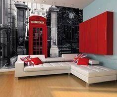 London Tema - Union Jack, posbusse, taxi's, Big Ben, London Bridge - Kleure - Gryse, swart rooi en (lig)blou.