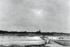 Gezicht op de stad met de Waalkade bij avond in het midden van de 19e eeuw. Ontleend aan een schilderij van Pieter Marinus Post. De stad zit dan nog gevangen in zijn wallen en is nog lang geen stad van kerken en kloosters wat de stad op het einde van die eeuw de schimpnaam Monnikendam aan de Waal opleverde. Op de voorgrond de verlichte gierbrug met stevige leuningen en een goed houten wegdek. Daarnaast het drijvende zwembad afgemeerd aan de Lentse oever.