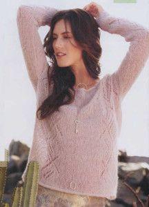 Ажурный пуловер спицами из тонкой пряжи