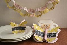 We R_butterfly tea party decor_aly dosdall Tea Party Decorations, Party Themes, Party Ideas, Birthday Lunch, Tea Party Birthday, Cute Butterfly, Butterfly Place, Paper Chains, Create Invitations